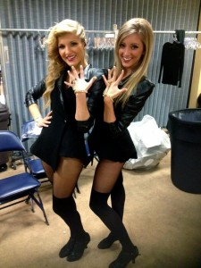 <p>Junior Brittney Schubert (right) poses backstage minutes before the Super Bowl XLVII halftime show. Schubert found the performance opportunity through Just For Kix, the dance company where she teaches. (Courtesy of Brittney Schubert)</p>