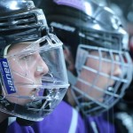 Defenseman Megan Juricko watches as the Falcons defeat the Tommies. Juricko had two attempted shots during Friday's game. (Natalie Hall/TommieMedia)