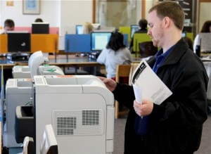 <p>St. Thomas printers now print paper double-sided. (Ryan Shaver/TommieMedia)</p>