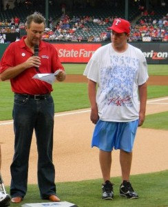 Senior Alex Grausnick is introduced at a 2010 Texas Rangers game. Grausnick is an ambassador for the Young Faces of ALS campaign. (Submitted photo)