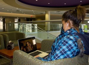 "<p>Freshman Maya Turner streams an episode of ""Revenge"" in the Anderson Student Center Tuesday. St. Thomas had to double its campus Internet connection Sept. 27 to account for the increased use of video streaming sites like Netflix. (Gabrielle Martinson/TommieMedia)</p>"