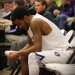 Guard Cortez Tillman takes in the loss after the game. St. Thomas lost 66-72 in the MIAC championship to St. Olaf. (Meghan Vosbeek/TommieMedia)