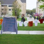 Shirts hang on the quad in April as part of the Clothesline Project, which is meant to raise awareness of sexual assault. The shirts are color-coded to show the form of abuse and whether the victim survived the abuse they experienced. (Meghan Vosbeek/TommieMedia file photo)