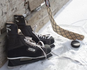 <p>Hockey equipment sits on the ice at Groveland Park near St. Thomas on Wednesday. Some members of the St. Thomas men's rugby club will be participating in the second annual Jack Jablonski Junior Bronze Pond Hockey Tournament on Jan. 27 to benefit the Jack Jablonski Believe in Miracles Foundation. (Gabrielle Martinson/TommieMedia)</p>