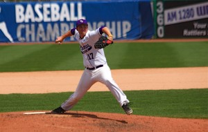 <p>Sophomore Steve Maher pitches in a World Series game last spring. Maher was named a preseason All-American and will lead St. Thomas this season. (Kristopher Jobe/TommieMedia)</p>