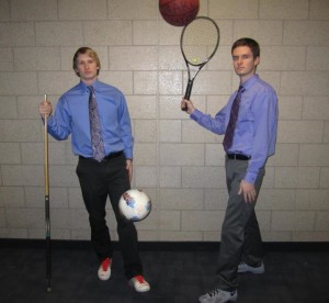 "Juniors Matt Baloun (left) and Ben Kula (right) pose for their first photoshoot before filming a new episode of their sports show, ""Baloun and Ben in the Morning."" The duo aired its first show Tuesday, Feb. 5. (Courtesy of Ben Kula and Matt Baloun)"