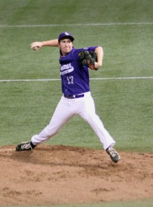 Steve Maher pitches against Hamline last spring in the Metrodome. The Tommies will have four practices and five doubleheaders in the Metrodome this season. (Josie Oliver/TommieMedia)