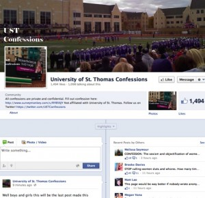 University of St. Thomas Confessions displays its final post. The Facebook page and Twitter account were shut down Thursday.