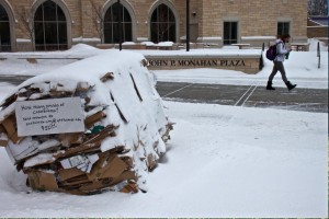 As part of RecycleMania (a national competition) a bale of cardboard with a $50.00 incentive sits outside of the Anderson Student Center's Monahan Plaza. (Alison Bengtson/TommieMedia)