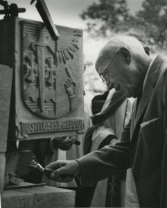 I. A. O'Shaughnessy placing the cornerstone on the O'Shaughnessy Library (later part of the O'Shaughnessy-Frey Library Center) at the College of St. Thomas in 1959. His legacy at St. Thomas is storied. (Photo courtesy of University Archives Photograph Collection)