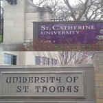 St. Catherine's University and St. Thomas are located less than 2 miles away from each other, connecting the institutions both academically and socially. With time, the relationship has changed, but a connection between the schools remains. (Rebecca Mariscal/TommieMedia)