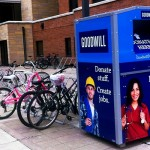 One of 29 Goodwill donation boxes scattered around campus stands outside of Morrison Hall. The boxes are part of a program called Give and Go where Goodwill collaborates with colleges to get donations. (Stephanie Dodd/TommieMedia)