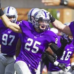 Defensive back Isaac Seering celebrates after his fumble recovery. St. Thomas held La Crosse to just 116 total yards Saturday.