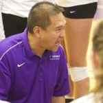 Coach Thanh Pham barks out orders to his team during a stoppage in play. St. Thomas lost to Northwestern Friday at Schoenecker Arena. (Tom Pitzen/Tommiemedia)