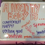 Signs with empowering and positive messages were found throughout campus last week as part of Body Image Awareness Week. Wellness Center graduate assistant Kaite Slieter said she hopes the week encouraged discussion about the issue of negative body image among students. (Margaret Galush/TommieMedia)