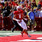 Matt Miller scores on a 78-yard touchdown pass from Jackson Erdmann with 3:12 to play in the first quarter to give St. John's a 21-0 lead over St. Olaf.  (Rachel Ketz/http://www.gojohnnies.com).
