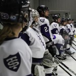 The Tommies anticipate the first period. St. Thomas will play Concordia Moorhead again on Saturday at St. Thomas Ice Arena. (Sunita Dharod/TommieMedia)