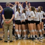 St. Thomas huddles after a winning point. The Tommies defeated Concordia-Moorhead 3-0 at the MIAC Quarterfinals Tuesday night in St. Paul. (Carlee Hackl/TommieMedia)