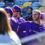 St. Thomas took on Hamline in the MIAC Baseball Playoffs Friday in Cold Spring. The Tommies fell to the Pipers 4-7, but they could still earn an at-large bid for regionals. (Carlee Hackl/TommieMedia)