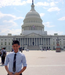 <p>Senior Kayden Bui stands in front of the Capitol in Washington D.C. Bui flew there to talk with members of Congress about his plans to use the $20,000 he earned for the Boren Scholarship. (Courtesy of Kayden Bui)</p>