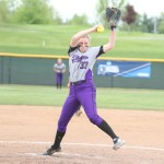 St. Thomas pitcher Kiersten Anderson-Glass cranks a pitch across the plate. Glass only allowed six hits in the Tommies' game one win against Trine University Friday. (Photo courtesy of Trine University).