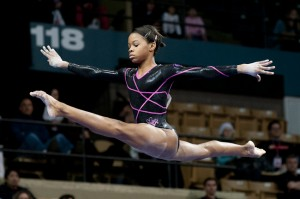 2012 Summer Olympic national team member Gabby Douglas performs in the vault event.  She lead the now women's 2012 Summer Olympic team in the all-around category in the Olympic trials.  (Courtesy of gabrielledouglas.com)