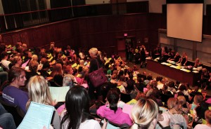 Gamma Sigma Sigma actives and pledges gather in JRC's auditorium Monday, Sept. 27 for an informational meeting and initiation. (Cynthia Johnson/TommieMedia)