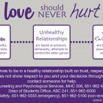 A poster defines appropriate relationships and tells students where they can turn to for help. In correspondence with the new policy, the Dean of Students created four digital posters to spread awareness of sexual misconduct and help prevent it before it happens. (Poster courtesy of the Dean of Students)