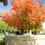 Trees outside the Frey Science and Engineering Center on South Campus dazzle with a brilliant fall orange. (Meghan Vosbeek/TommieMedia)
