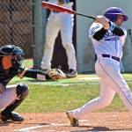 Outfielder Jake Smith finishes a swing in a game against Bethel last season. Smith had one of St. Thomas' four hits in Thursday's playoff loss against St. Mary's.(Carlee Hackl/TommieMedia)