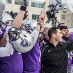Coach Glenn Caruso and the St. Thomas football team celebrate after Saturday's victory over Gustavus. The Tommies earned an at-large bid to the NCAA playoffs and will face Wartburg College in Waverley, Iowa this Saturday. (Jake Remes/TommieMedia)