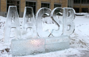 <p>An ice sculpture in front of Schulze Hall in Minneapolis announces the new AACSB accreditation. (Theresa Malloy/TommieMedia)</p>