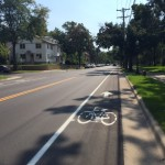 New bike lanes on Cleveland Avenue offer access for community bikers to explore the city. The new lanes also replaced street parking availability for students and others. (Kassie Vivant/TommieMedia)