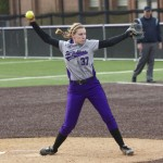 Pitcher Kierstin Anderson-Glass delivers a pitch in a game against Macalester earlier this season. Anderson-Glass struck out seven batters in Friday's NCAA playoff game against Wisconsin-Whitewater. (Jesse Krull/TommieMedia)