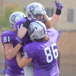Tommies celebrate a touchdown. St. Thomas defeated Wisconsin - La Crosse 51-7 Saturday. (Andrew Brinkmann/TommieMedia)