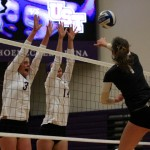 Outside hitter Kelly Biermann and Lloyd go up for a block against St. Olaf. St. Thomas is 3-5 in the MIAC after Wednesday's win over the Oles. (Miranda Lockner/TommieMedia)