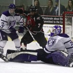 Goalie Ben Myers uses his body to defend the net. Myers completed the game with 40 saves and two goals allowed.