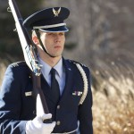 An Air Force ROTC cadet honors veterans of military service with his silent march. (Claire Noack/TommieMedia)
