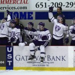 Coach Jeff Boeser is in his seventh year as head men's hockey coach. The team celebrated as Boeser recorded his 100th win last Friday with a victory over Hamline University. (Carolyn Meyer/TommieMedia)