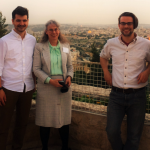 Ann Marie Klein, Nicholas Vance, Bernadette Waterman Ward of the University of Dallas, Nicholas Check and Christopher Vance on the deck of the Hebrew University overlooking Jerusalem. (Photo courtesy of Ann Marie Klein).
