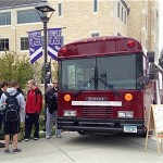 "The ""Love your Melon"" bus parks outside in the Student Center for the official ""Love your Melon"" day on October 22nd, 2013. Juniors Brian Keller and Zachary Quinn will continue their mobile head shaving idea across the nation in January. (Photo courtesy of Zachary Quinn)"