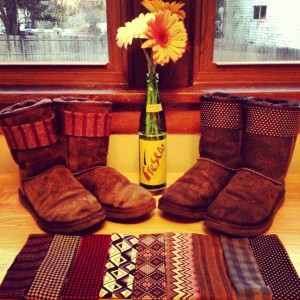 Summit Avenue Apparel's Ugg Boot Straps are displayed for prospective buyers. Carson Tomsche, one of the business' founders, said they are looking forward to expanding the patterns and the amount of straps they will make for the fall and the winter. (Courtesy of Carson Tomsche)