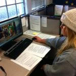 Senior Abigail Rohlfing surfs the Love Your Melon website in preparation. Minneapolis and St. Paul Mayors declared Oct. 22 Love Your Melon Day. (Alison Bengtson/TommieMedia)