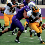 Linebacker Tremayne Williams forces a fumble in last year's game against Gustavus. The Tommies defeated the Gusties 28-14 in 2012. (Rosie Murphy/TommieMedia)