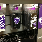 The St. Thomas bookstore displays a variety of Widget Wah! iPhone cases. Widget Wah! now has several other clients, some at the national level. (Kayla Bengtson/TommieMedia)