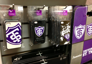The St. Thomas bookstore displays a variety of Widget Wah iPhone cases. Widget Wah now has several other clients, some at the national level. (Kayla Bengtson/TommieMedia)