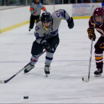 Forward Christina Rozeske races Cobber Libby Fransdal for the puck during their season ending loss to Concordia Moorhead last year. Rozeske previously lead the team with 14 goals. (Andrew Stafford/TommieMedia)