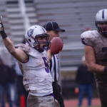 Running back Jack Kaiser celebrates his third touchdown on the day. St. Thomas defeated St. Olaf College 45-22 at Manitou Stadium in Northfield, Minn. Saturday (Andrew Stafford/TommieMedia)