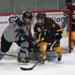 Forward Kelsey Barnier attempts to overcome the Cobber defense at the goal earlier in the season. St. Thomas will face Gustavus in the MIAC championship Saturday (Morgan Neu/TommieMedia).