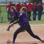 Starting pitcher Kendra Bowe hurls a pitch in the bottom of the third inning in a game against Central last season. Bowe is 42-7 in her career with a 1.40 ERA. (Andrew Stafford/TommieMedia)
